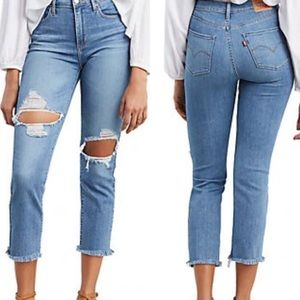 NWT Levi's 724 High Rise Straight Crop Denim Jeans